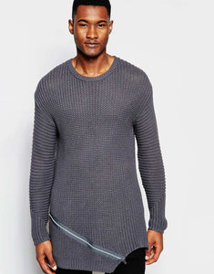 Ribbed Jumper with Front Zip Detail