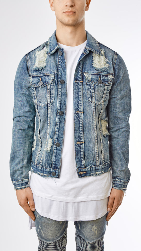 Distressed Stone Wash Denim Jacket - Mid Blue