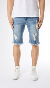 Distressed Stone Wash Denim Shorts - Blue