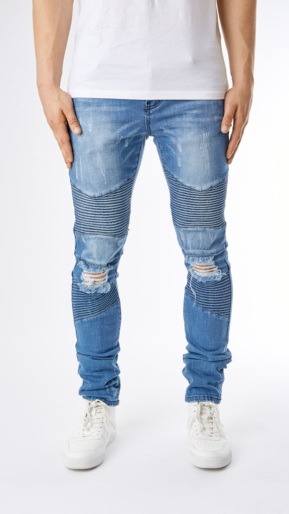 Ripped Stone Wash Biker Denim - Light Blue