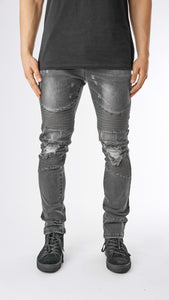Ripped Stone Wash Biker Denim - Black