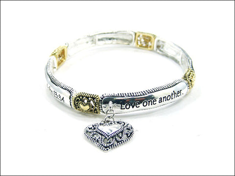 John 13:34 Love One Another Stretch Bracelet - AB2902-TT