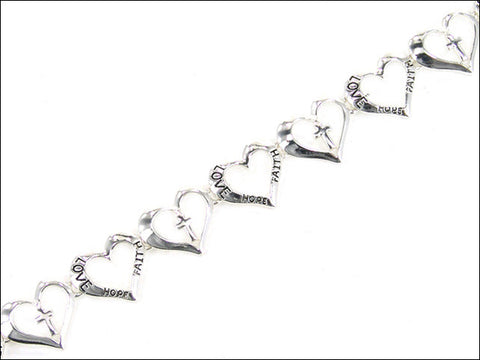 Heart with Cross Magnetic Bracelet - AB3435-AS