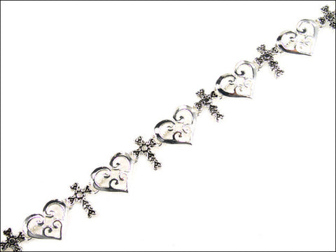 Heart and Cross Magnetic Bracelet  - AB3437-AS