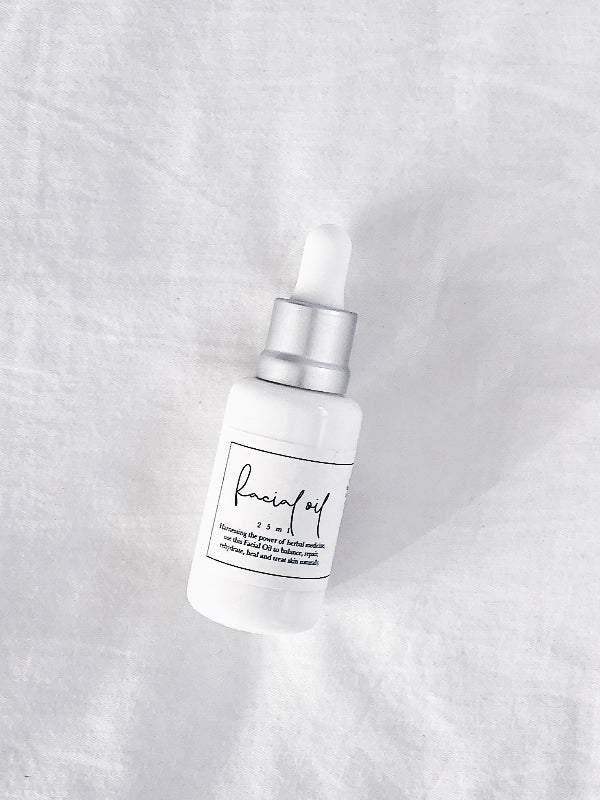 Balance, hydrate, treat + repair skin with this oil, infused with medicinal herbs for skin health + healing. Our Facial Oil is formulated to tone skin, calm redness + irritation, and protect against the effects of ageing. Gentle + easily absorbed, this treatment oil is rich in antioxidant, anti-inflammatory + antibacterial ingredients.