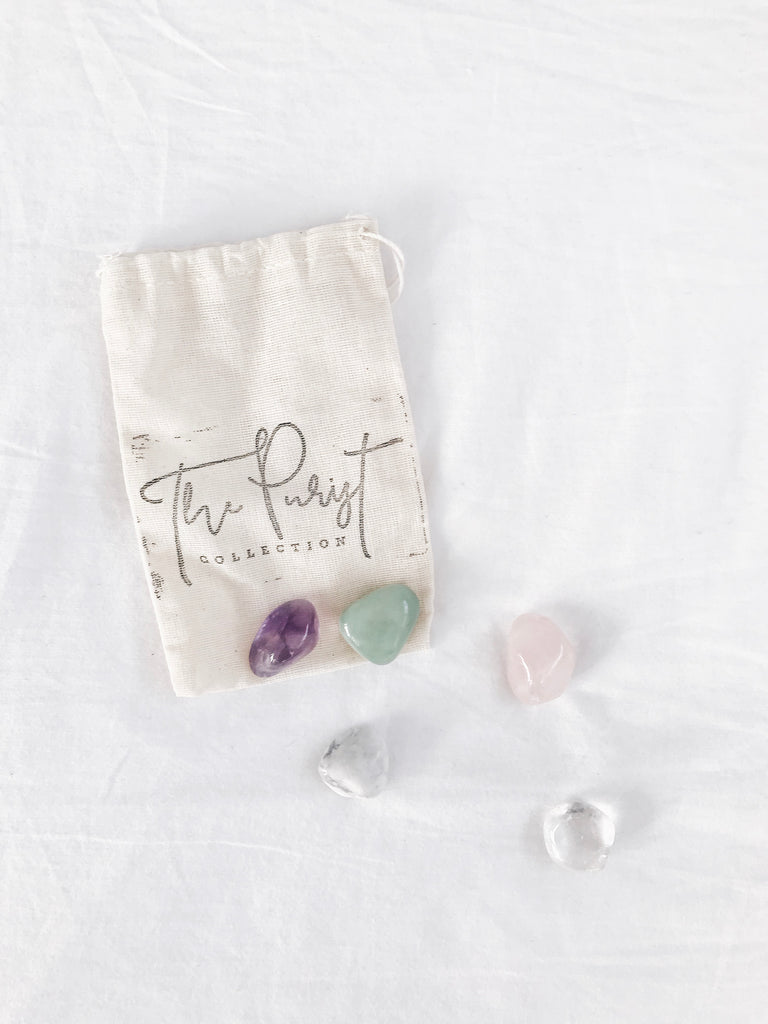 Five crystal tumblestones, each carefully selected for their positive effects on health, healing + wellness.