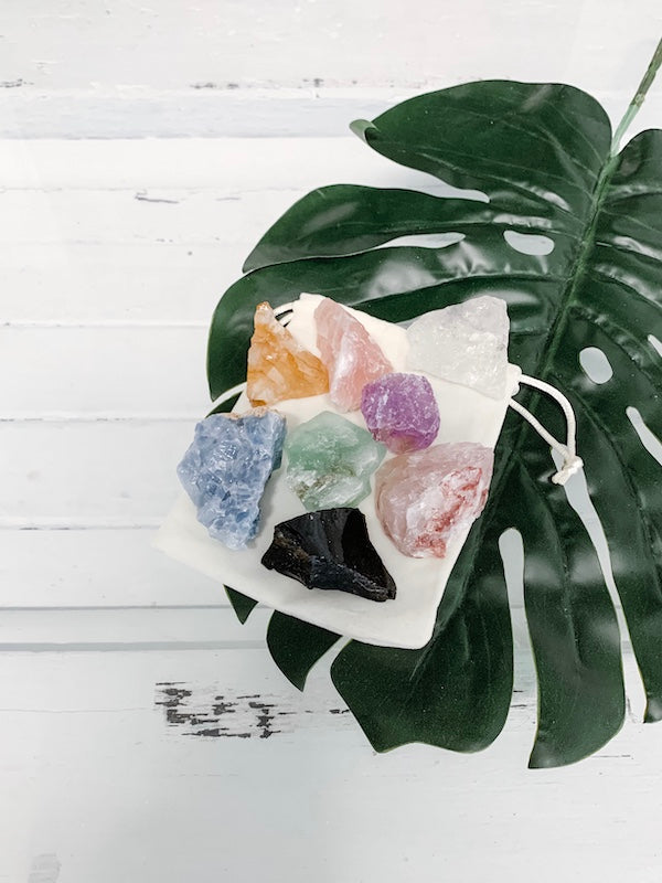 Chakra crystal set by The Purist Collection