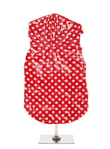 RED AND WHITE POLKA DOT PVC RAINCOAT