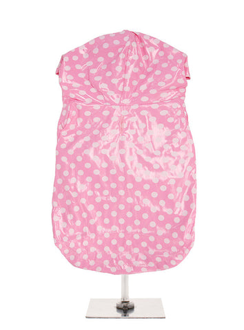PINK AND WHITE POLKA DOT PVC RAINCOAT