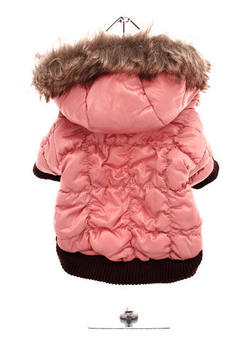 LUXURY PINK QUILTED SKI PARKA WITH HOOD