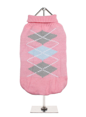BABY PINK GREY ARGYLE KNITTED JUMPER