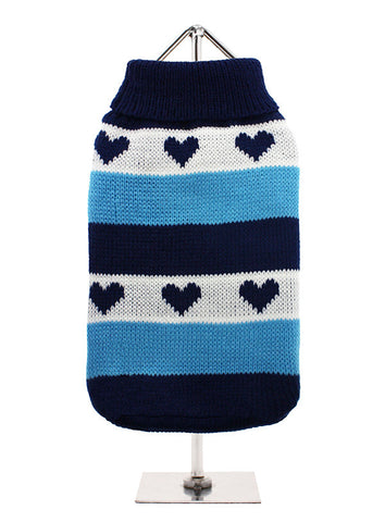 BLUE HEARTS STRIPED KNITTED JUMPER