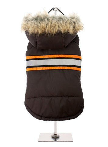 BROWN HI-VIS BODYWARMER WITH FUR HOOD