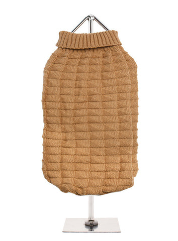 BROWN WAFFLE TEXTURED KNITTED JUMPER