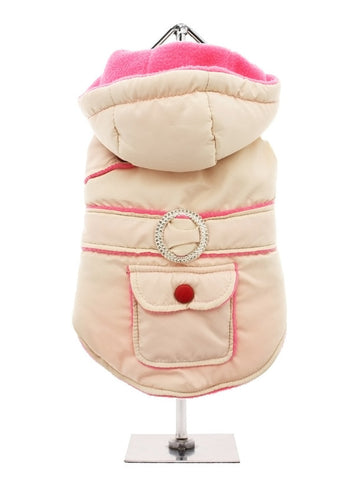 CREAM PINK QUILTED AND HOODED BODY WARMER