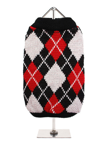 RED BLACK ARGYLE JUMPER