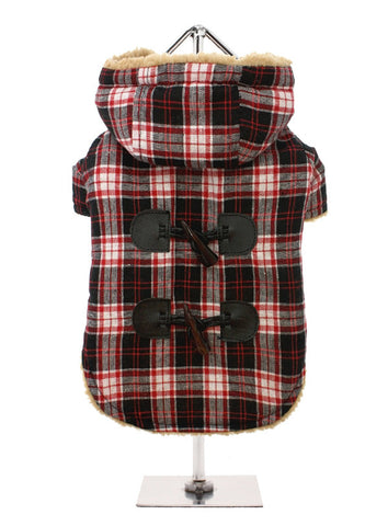 RED BLACK TARTAN DUFFLE COAT