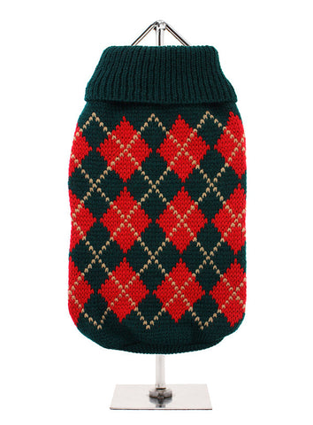 RED DARK GREEN ARGYLE JUMPER