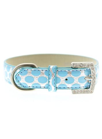 SILVER AND BLUE POLKA DOT COLLAR