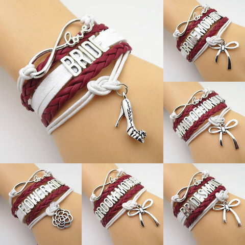 Infinity Love Burgundy White Wedding Party Bracelets