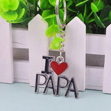 Fashion Creative Alloy Keychain Keyring I LOVE PAPA Pendant Gift for Father Dad