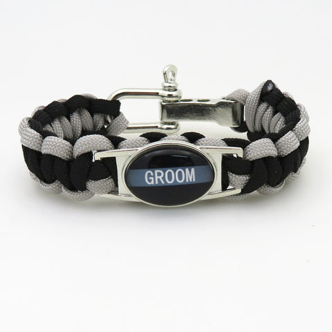 Paracord Black & Silver Groom Wedding Party Bracelets - 50% Off Sale