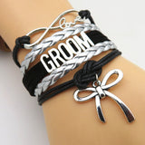 Infinity Love Black & Silver Groom Wedding Party Bracelets - 50% Off Sale