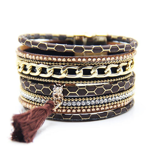 Bracelet - Fashion Multilayer Boho Giraffe Leather Magnetic Bracelet