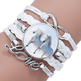 Bracelet - Horse Love Female Leather Infinity Wrap Bracelet Bangle For Women Handmade Glass Cabochon Horse Jewelry Best Gift