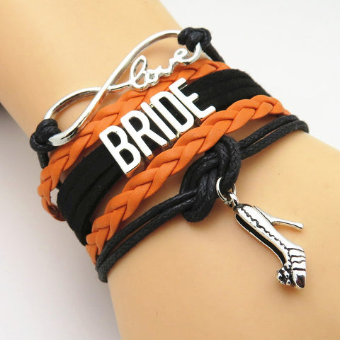 Bracelet - Infinity Love Black & Orange Bride Bracelets - 50% Off Sale