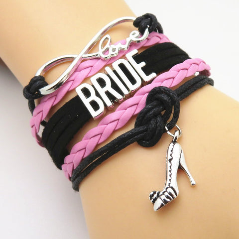 Bride Bracelet - Infinity Love Black & Pink Wedding Party Bracelets - 50% Off Sale
