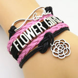 Bracelet - Infinity Love Black & Pink Wedding Flower Girl Bracelets - 50% Off Sale