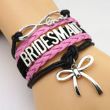 Bracelet - Infinity Love Black & Pink Wedding Bridemaids Bracelets - 50% Off Sale