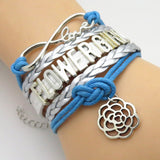 Bracelet - Infinity Love Blue & Silver Wedding Flower Girl Bracelets - 50% Off Sale