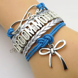 Bracelet - Infinity Love Blue & Silver Wedding Groom Mother Bracelets - 50% Off Sale