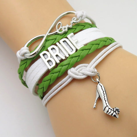 Bracelet - Infinity Love Green White Wedding Party Bracelets