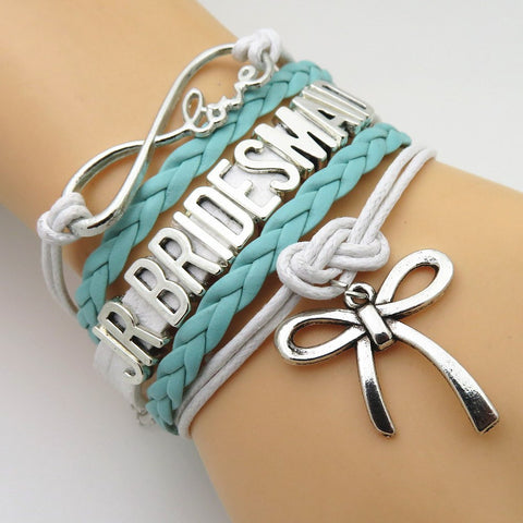 Bracelet - Infinity Love Mint Green Wedding Party Bracelets