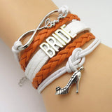 Bracelet - Infinity Love Orange White Wedding Party Bracelets
