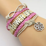 Bracelet - Infinity Love Pink And Tan Wedding Party Bracelets - 50% Off Sale
