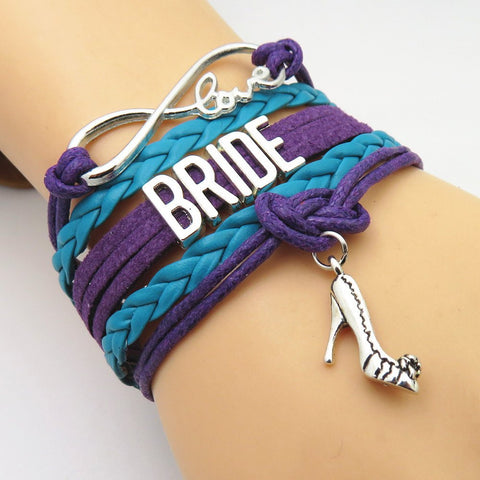 Bracelet - Infinity Love Purple & Teal Wedding Party Bracelets - 50% Off Sale