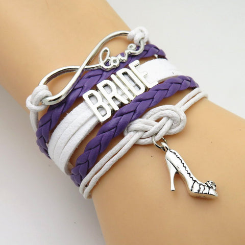 Bracelet - Infinity Love Purple White Wedding Party Bracelets