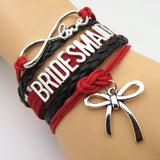 Bracelet - Infinity Love Red & Black Wedding Bridesmaid Bracelets - 50% Off Sale