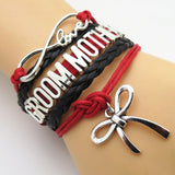 Bracelet - Infinity Love Red & Black Wedding Groom Mother Bracelets - 50% Off Sale