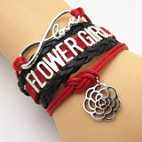 Bracelet - Infinity Love Red & Black Wedding Flower Girl Bracelets - 50% Off Sale
