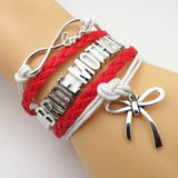 Bracelet - Infinity Love Red White Wedding Party Bracelets