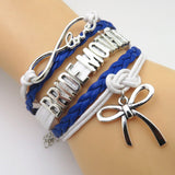 Bracelet - Infinity Love Royal Blue White Wedding Party Bracelets