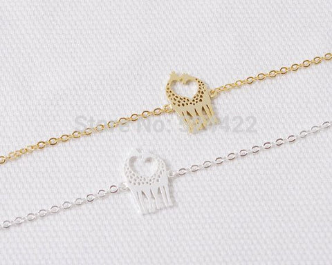 Bracelet - Min 1pc Gold And Silver Loving Giraffes Bracelet Cute Animal Jewelry