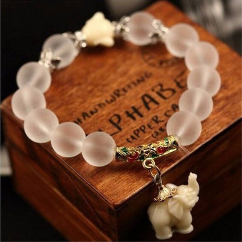 girls antique summer dangling flowergirl charm beaded spring bridesmaids jewelry bracelet white wedding elephant media jade gift gold womens