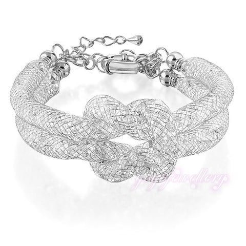 Bracelet - Tie The Knot Double Chain Wire Mesh Bracelet 18K Bridal Engagement Gift