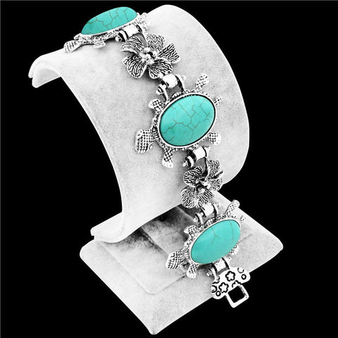 Bracelet - Vintage Look Tibet Antique Silver Plated Flower Turtle Real Turquoise Bracelet